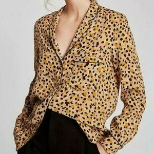 ZARA Leopard Print SHIRT BLOUSE Size Medium